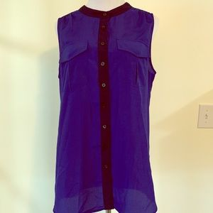 Royal blue button up sleeveless blouse